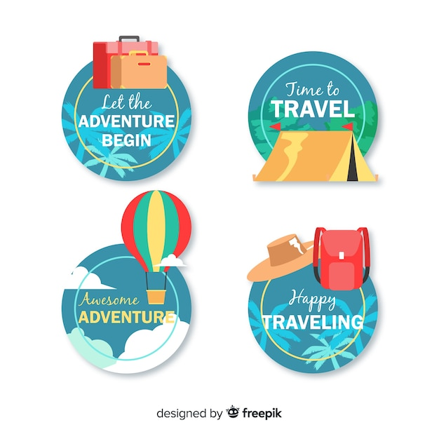 Vintage flat travel logo set Free Vector