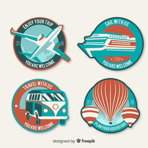 Vintage flat travel logo set Free Vector