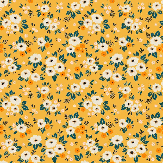 Vintage floral background. seamless  pattern with small white flowers on a yellow background. Premium Vector