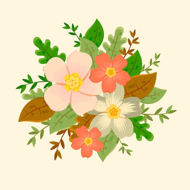 Vintage floral bouquet illustration Free Vector
