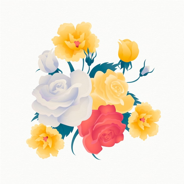 Vintage floral bouquet with golden roses Free Vector