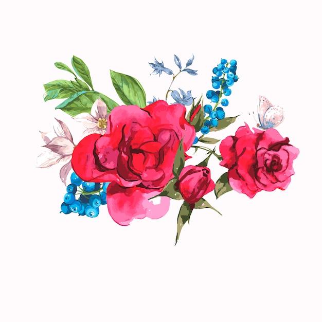 バラと野生の花のヴィンテージの花カード Premiumベクター