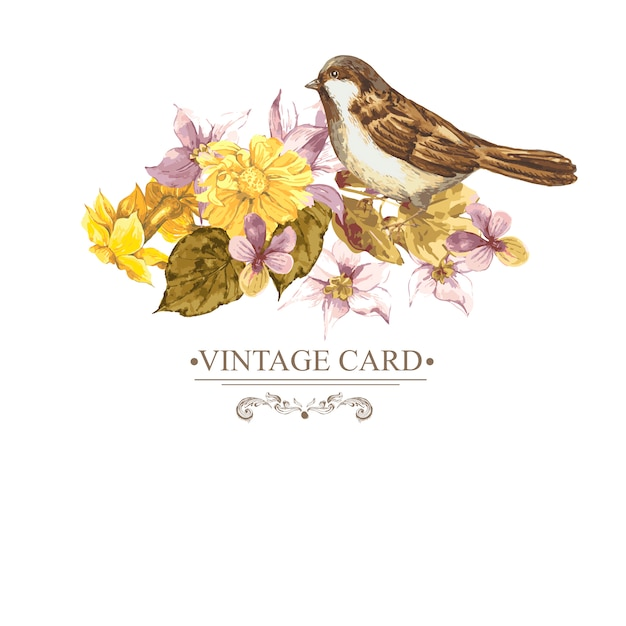 Vintage floral card with roses and wild flowers Premium Vector