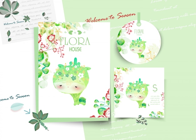 Vintage floral cute animal card in watercolor style. Premium Vector