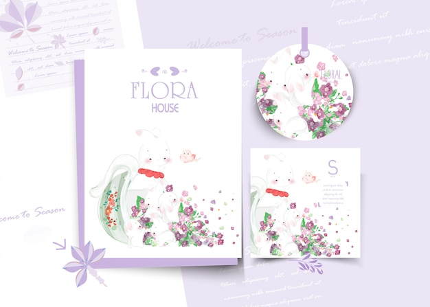 Vintage floral cute animal card in watercolor style. Premium Vector