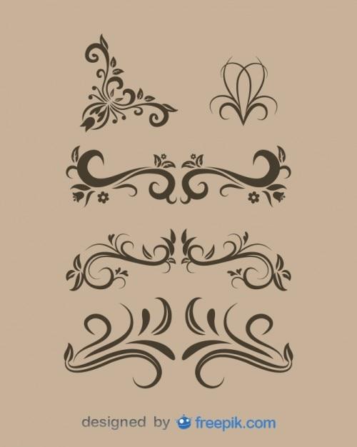 Vintage floral design elements set Free Vector