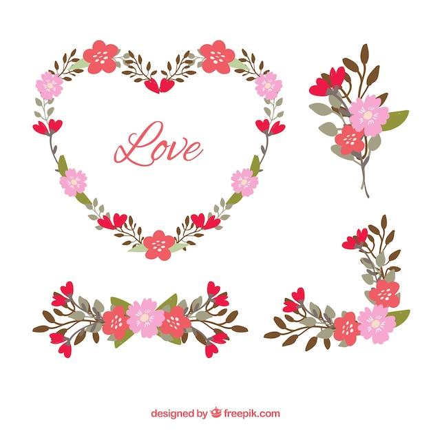 Vintage floral details set for valentine Free Vector