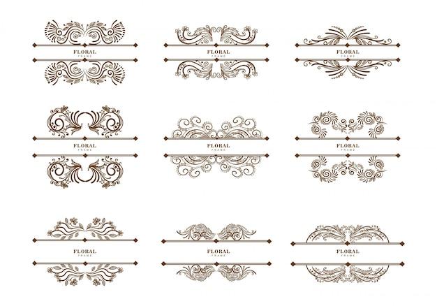 Set di divisori floreali vintage Vettore gratuito