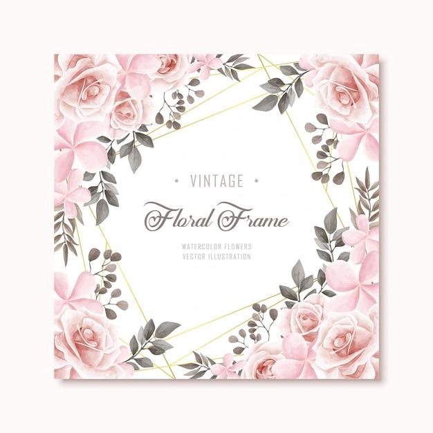 Vintage floral flowers frame background Premium Vector