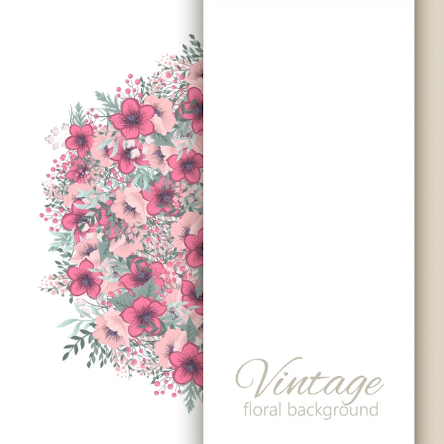 Vintage floral frame background with colorful flower. Free Vector