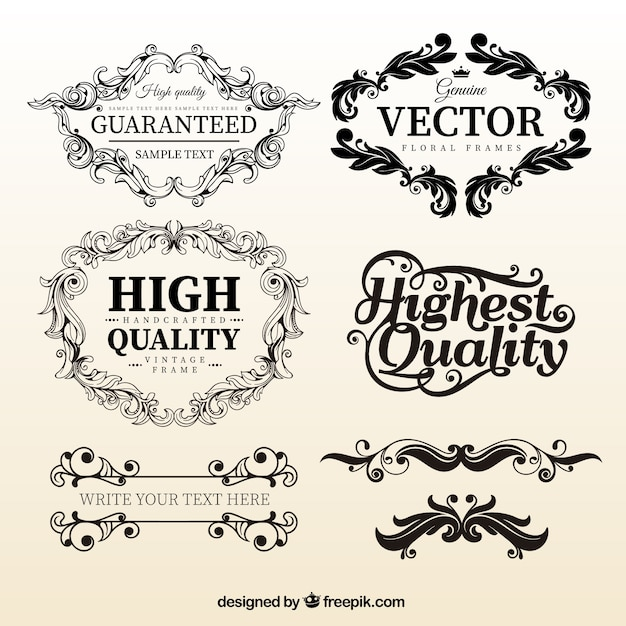 Vintage floral frame templates Vector | Free Download