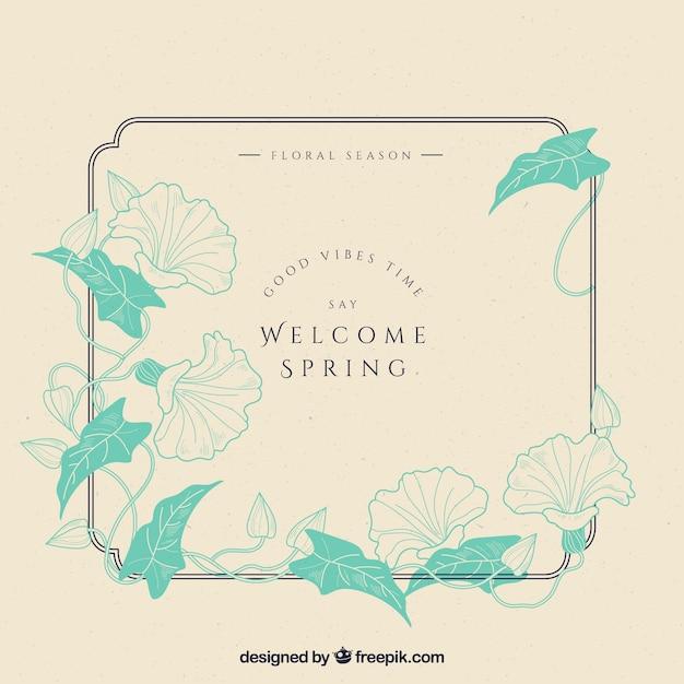 Vintage floral frame welcome spring Free Vector