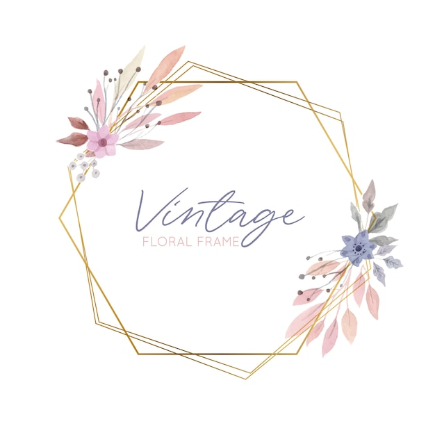 Vintage floral frame with golden border Free Vector