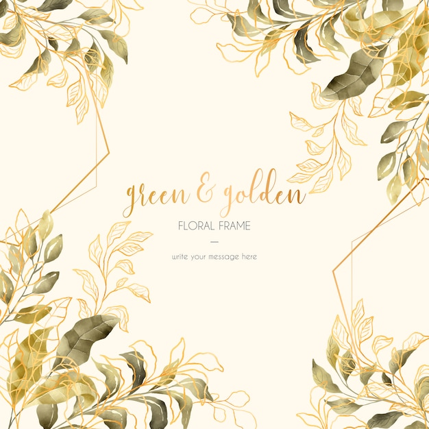 Vintage floral frame with golden and green leaves Free Vector