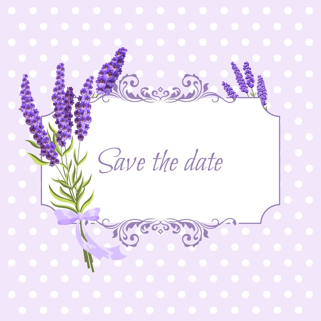 Vintage floral frame with lavender in provence style on dots Premium Vector
