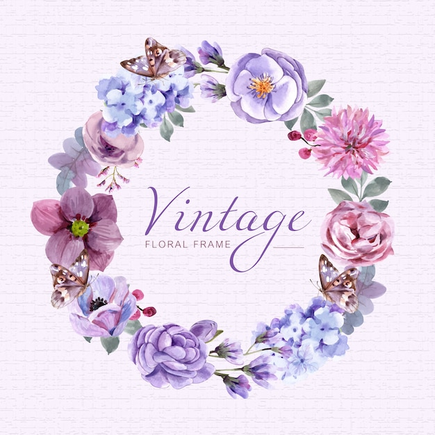 Vintage floral frame with watercolor