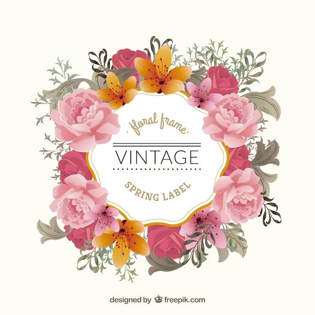 Awesome Vintage Flowers Part - 13: Vintage Floral Frame Free Vector