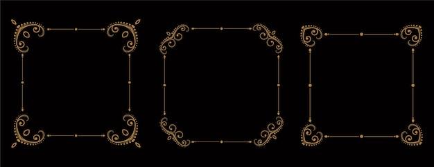 Vintage cornici floreali bordi set di tre Vettore gratuito