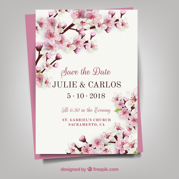 vintage floral invitation vector free download