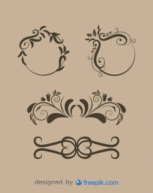 Vintage floral ornaments collection Free Vector