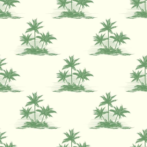 야자수와 함께 빈티지 꽃 완벽 한 패턴입니다. 무료 벡터