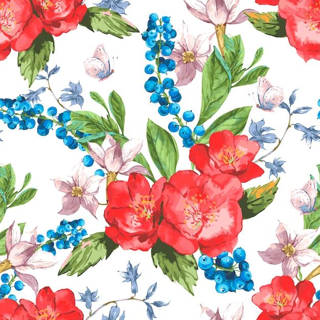 バラと野生の花のヴィンテージ花柄シームレス Premiumベクター