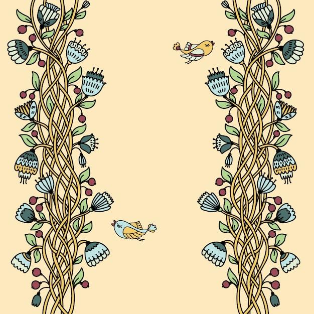 Vintage floral seamless pattern Premium Vector