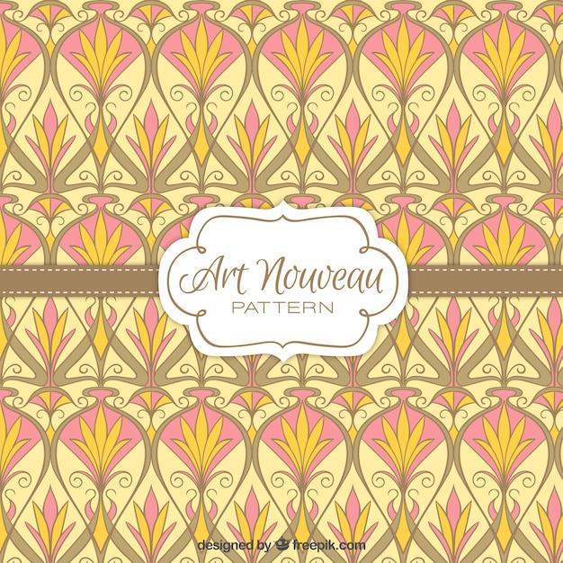 Vintage Floral Shapes Art Nouveau Pattern Free Vector