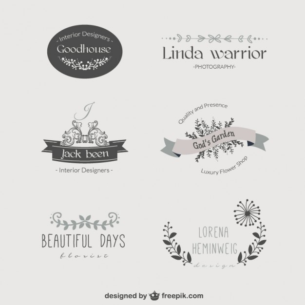vintage floral template logos vector free download. Black Bedroom Furniture Sets. Home Design Ideas