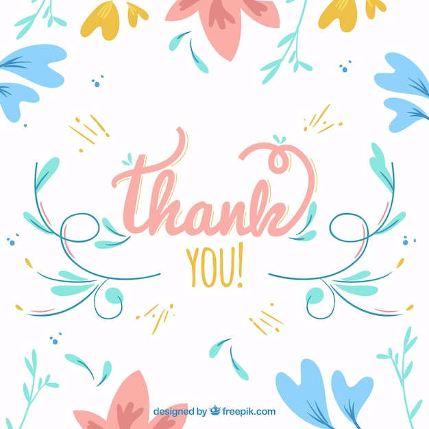 Thank you background. Vintage floral vector free