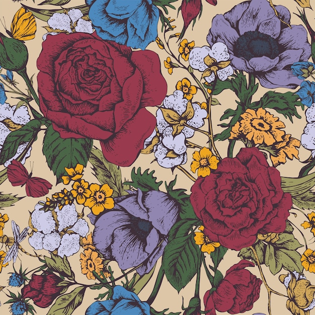Vintage floral vector seamless pattern with roses Premium Vector