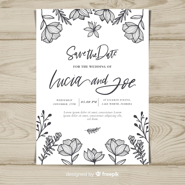 Vintage floral wedding card template Free Vector