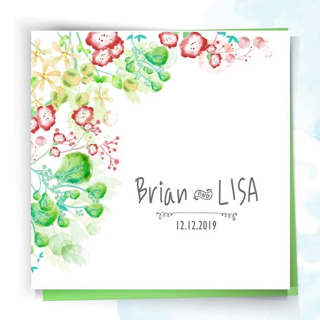 Vintage floral wedding card in watercolor style. Premium Vector