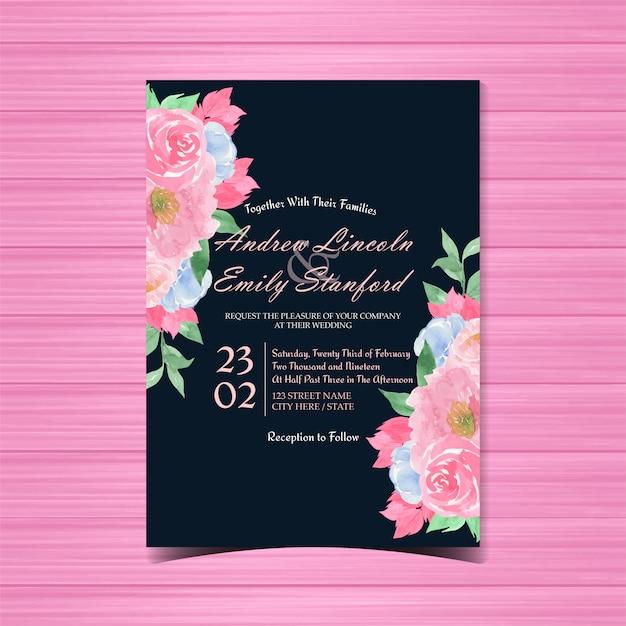 Винтажная цветочная свадебная открытка Premium векторы