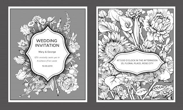 ヴィンテージの花の結婚式の招待カード 無料ベクター