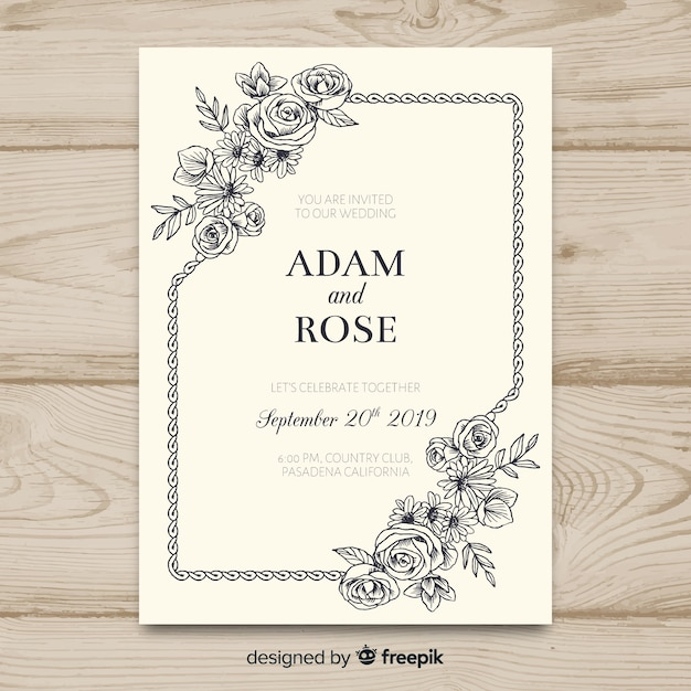 Vintage floral wedding invitation template Free Vector