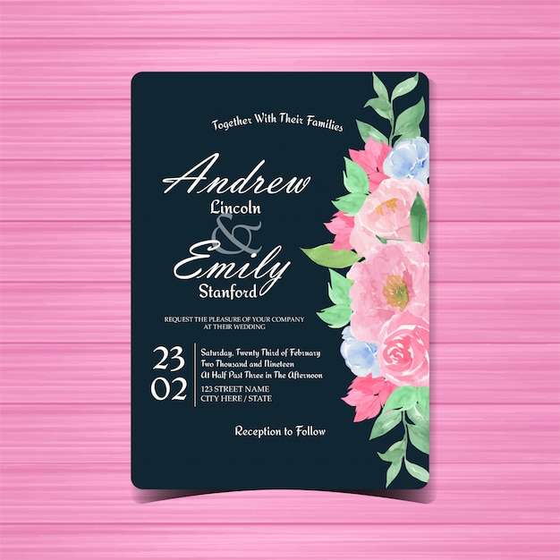 Старинные цветочные свадебные приглашения Premium векторы