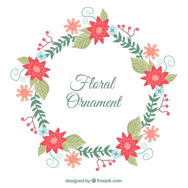 Vintage floral wreath Free Vector