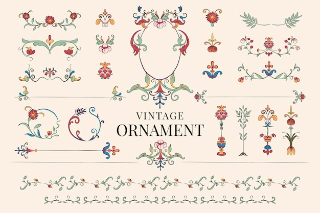 Vintage flourish ornament illustration Free Vector