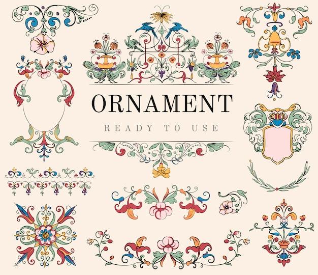 Vintage flourish ornament illustration Free Vector