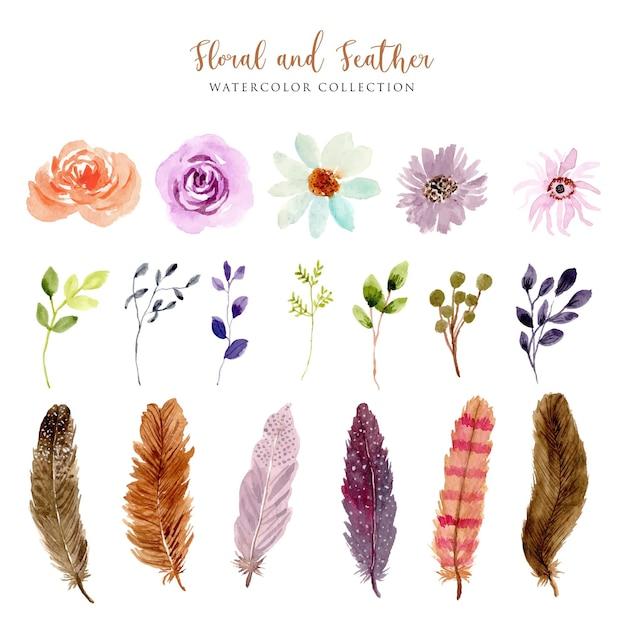 Винтажная коллекция акварелей цветов и перьев Premium векторы