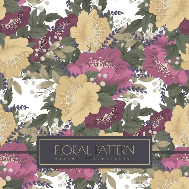 Vintage flower background seamless pattern Free Vector