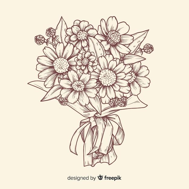 Vintage flower bouquet illustration Free Vector