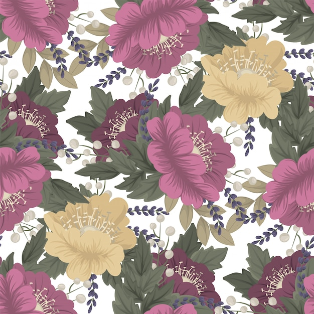 Vintage flower  seamless pattern Free Vector
