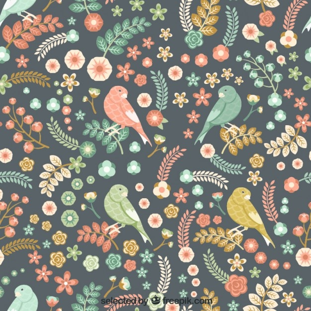 Vintage flowers and birds pattern Free Vector