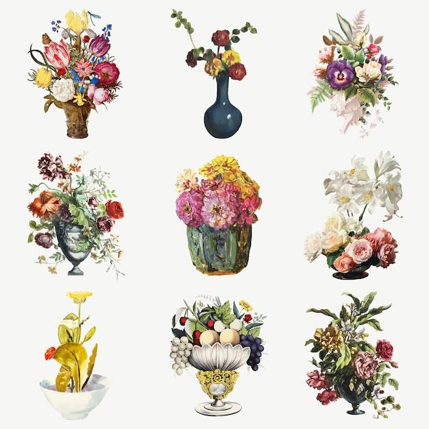 빈티지 꽃 식물 그림 세트 무료 벡터