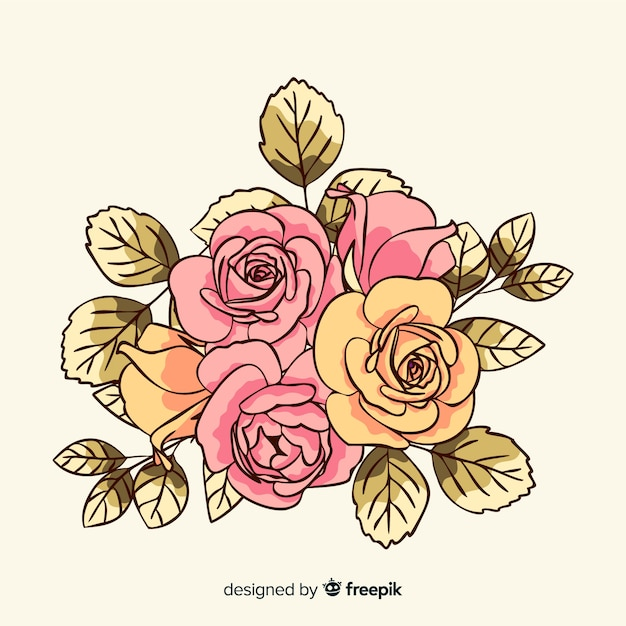 Vintage flowers bouquet background Free Vector