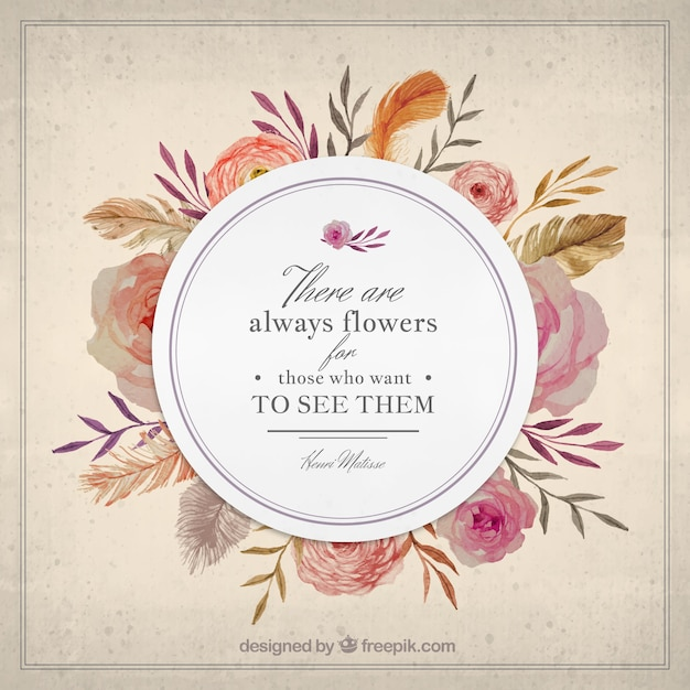 Nature Images With Quotes Download: Vintage Flowers Elegant Badge With A Nature Quote Vector