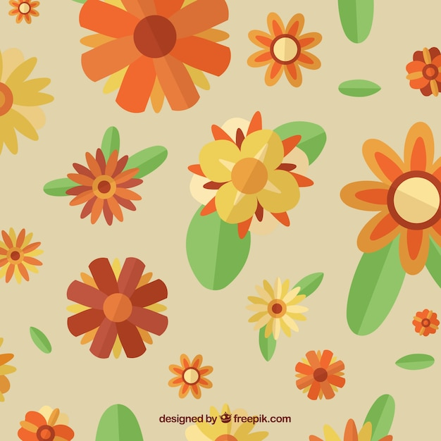 Vintage flowers pattern with leaves in flat style Free Vector