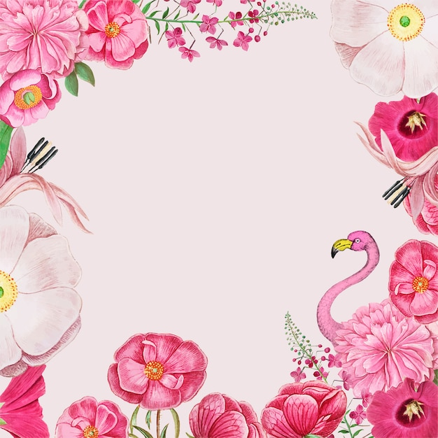 Vintage flowers and pink flamingo border frame vector Free Vector